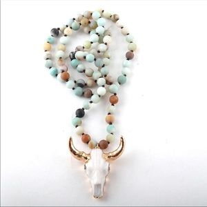 NEW, Buffalo/Cattle Head Amazonite Beaded Necklace